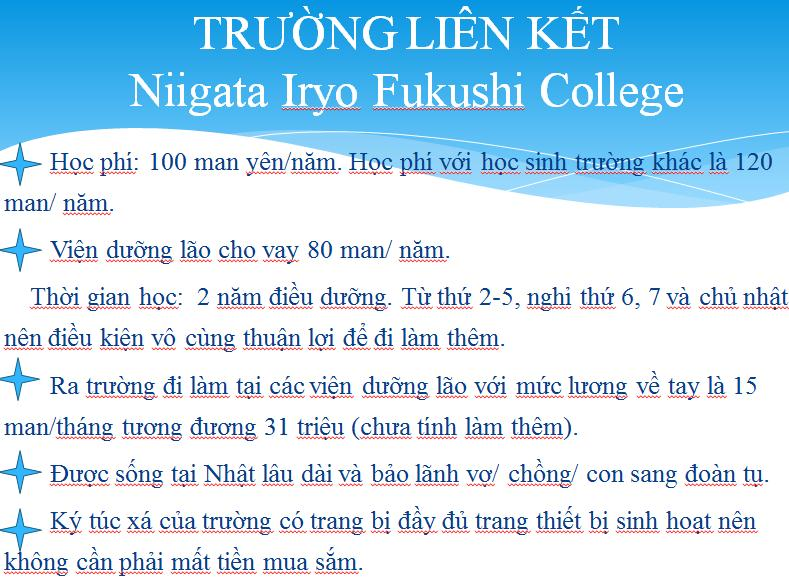 niigata iryo fukushi college,Du học điều dưỡng nhật bản Tuyển Sinh 2020,2021